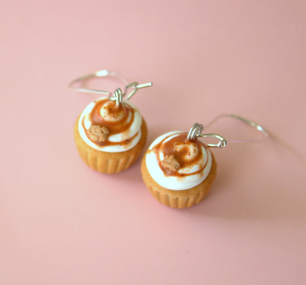 Caramel vanilla cupcake earrings