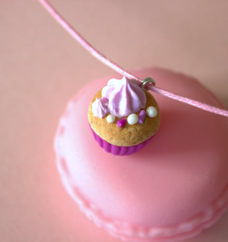 Pink frosted vanilla cupcake necklace