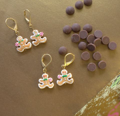 Gingerbread man cookies earrings (14K gold filled)