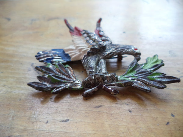 WWII Eagle Brooch Silver Metal Enamel Rhinestones Pot Metal