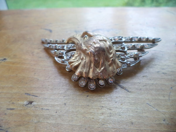 Large Eagle Brooch Wing Brooch Silver Pot Metal Crystal Rhinestones Gold Eagle Head Brooch Pin