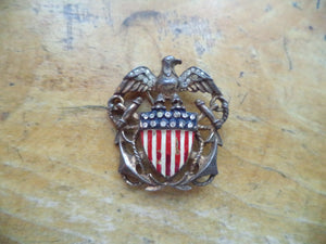 WWII Sweetheart Pin Sterling Eagle Flag Emblem Sterling Trifari Brooch Crystal Rhinestones Enamel Vermeil