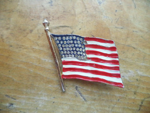 Vintage 1940s Flag Brooch Enamel Crystal Rhinestones Signed Coro WWII Sweetheart Pin Brooch Jewelry