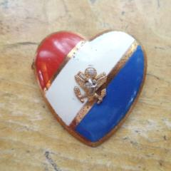 WWII Sweetheart Pin Heart USA Eagle Emblem Brooch Red White Blue Enamel Heart Pin