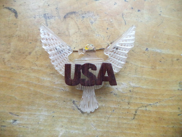 WWII Lucite Eagle USA Brooch Clear Lucite Handcrafted Carved Lucite Home Front Pin Patriotic Jewelry
