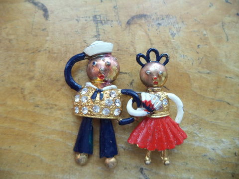 WWII Sweetheart Pin Figural Sailor and Girl Sweethearts Brooch Enamel Crystal Rhinestones