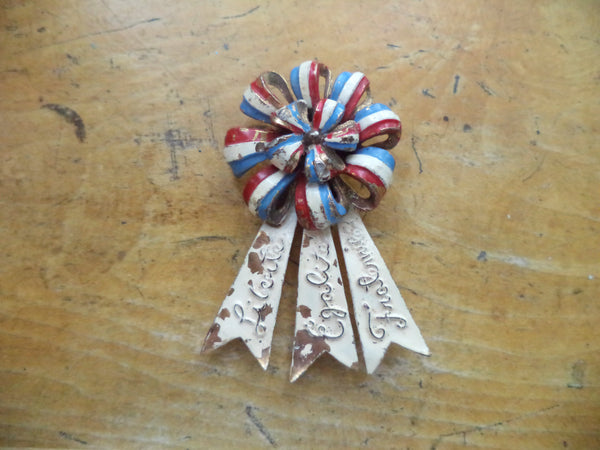 WWII French Patriotic Brooch Enamel Fur Clip by SILSON