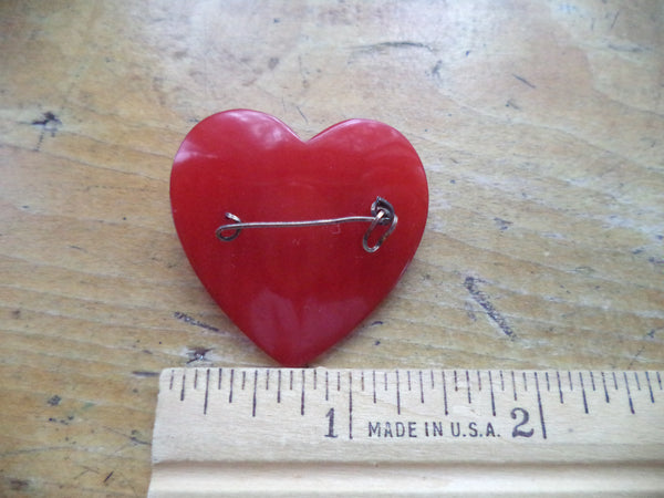 WWII Sweetheart Pin Red Heart ARMY GF Script Wire Patriotic Home Front Brooch Pin Jewelry