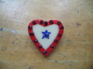 WWII Sweetheart Pin One Star Heart Pin Red White Blue Rhinestones