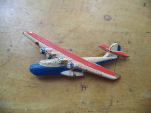 WWII Sweetheart Pin Airplane Pin Red White Blue Enamel Metal Airplane Brooch Patriotic Pin Home Front Jewelry