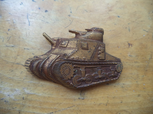 WWII Tank Pin Sweetheart Pin Gold Army Tank Early Plastic