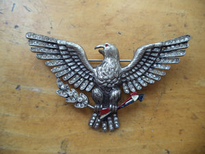 WWII Sweetheart Pin Large Eagle Brooch Crystal Rhinestones Red White Blue Enamel Open Wings American Eagle Brooch Patriotic Jewelry