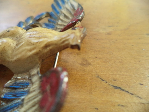 WWII Sweetheart Pin Pot Metal Eagle Enamel Large  1940s Eagle Brooch