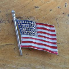 WWII Sweetheart Pin Flag Brooch CORO Flag Pin Pot Metal Rhinestones Enamel Unsigned CORO