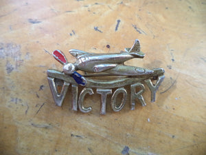 WWII Sweetheart Pin Airplane Victory V for Victory