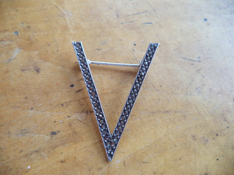 WWII Sterling V for Victory Pin Sterling Marcasite V Pin Home Front Patriotic Pins