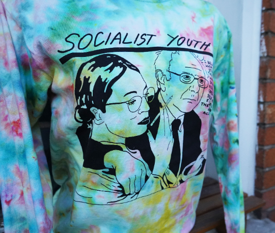 "Bernie Sanders and AOC ""Socialist Youth"" Ice Dyed Tee"