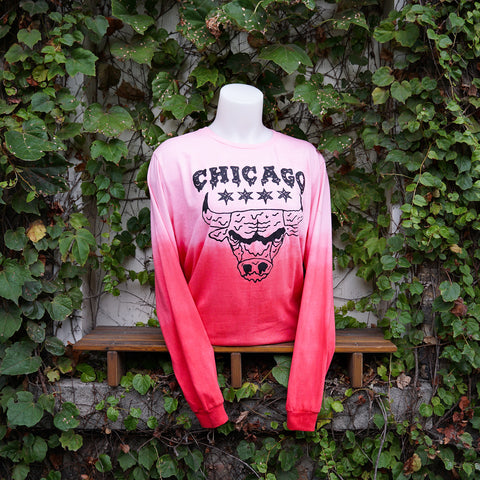 Red Dip Dyed Drippy Bulls Tee (longsleeve)