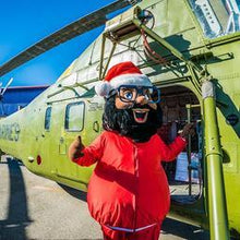 Black santa helicopter event