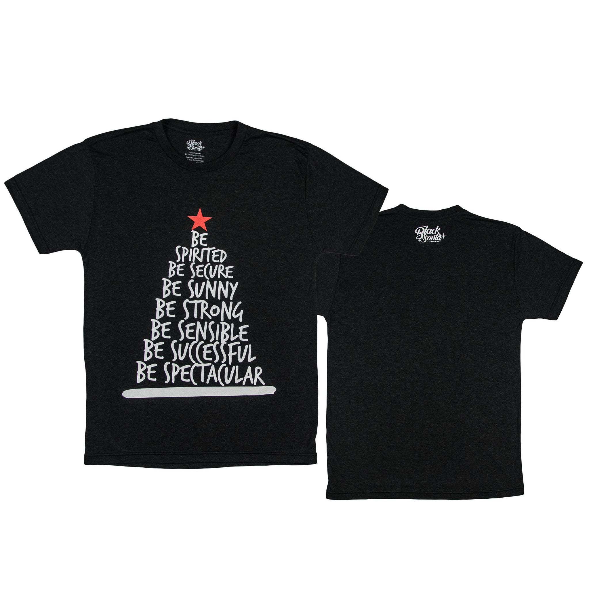 Black Santa Be Tree Tee - Vintage Black