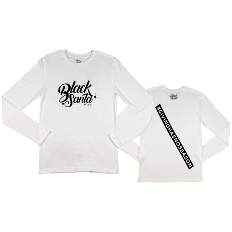 Black Santa #GivingHasNoSeason Long Tee - White