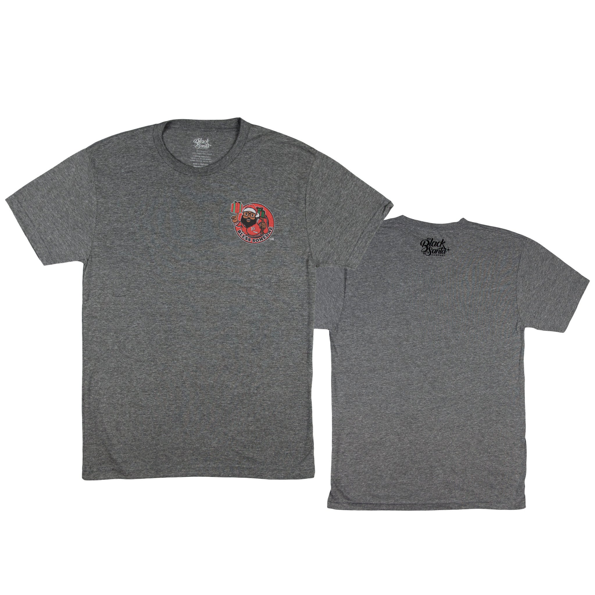 Black Santa Bless Circle Tee - Heather Gray