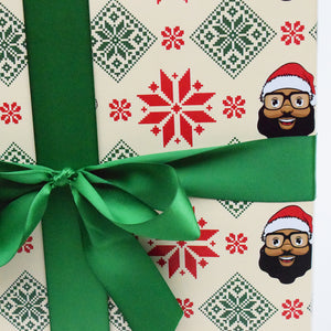Poinsettia Wrapping Paper - The Black Santa Company