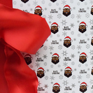 Bless Someone Wrapping Paper - White - The Black Santa Company