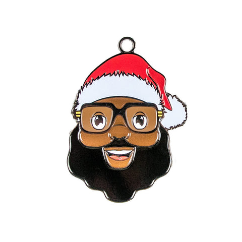 Black Santa Face Metal Ornament - Full color - The Black Santa Company