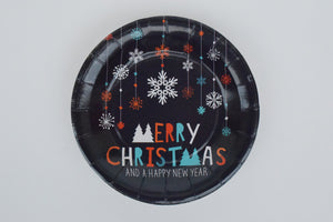 MERRY CHRISTMAS PAPER PLATES - SMALL - The Black Santa Company