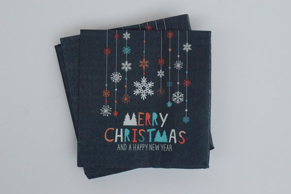 MERRY CHRISTMAS PAPER NAPKINS - SMALL - The Black Santa Company