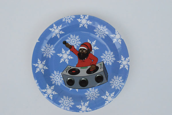 DJ BLACK SANTA PAPER PLATES- LARGE - The Black Santa Company