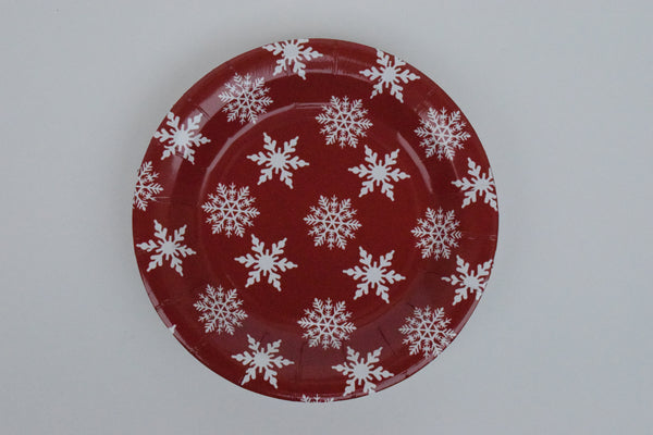 RED WITH WHITE SNOW FLAKES PAPER PLATES - SMALL - The Black Santa Company