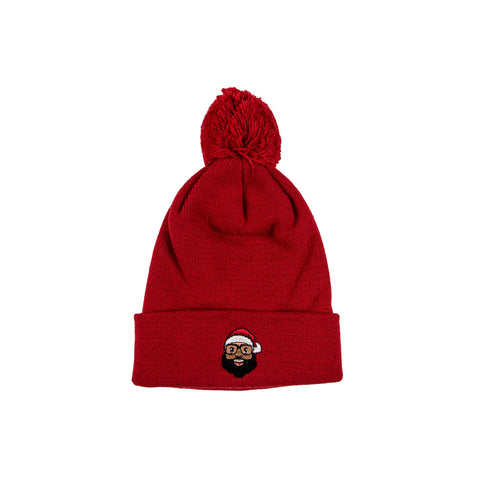 Black Santa Beanie - Red