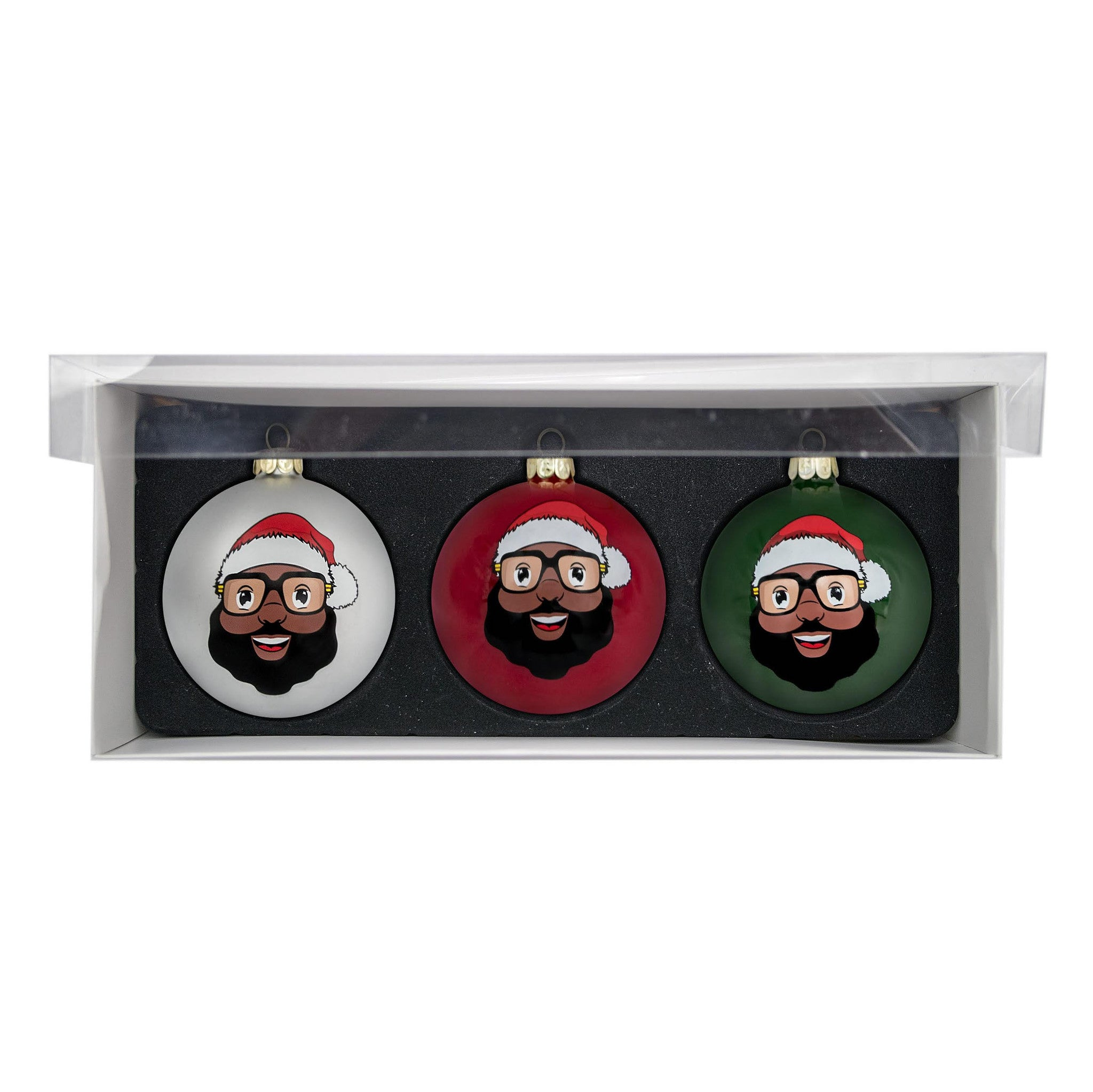 Black Santa 3 Glass Ball Ornaments - Matte Finish