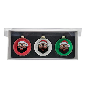 Black Santa 3 Glass Ball Ornaments - Shiny Finish - The Black Santa Company