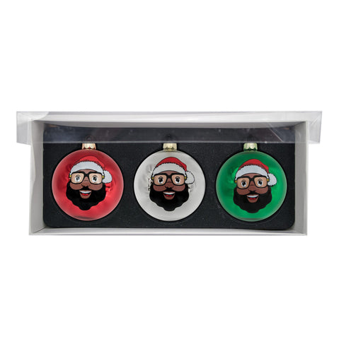 Black Santa 3 Glass Ball Ornaments - Shiny Finish