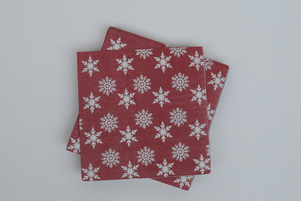 Star and Flakes Large Napkin - The Black Santa Company