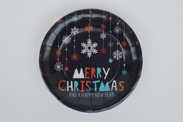 MERRY CHRISTMAS PAPER PLATES - LARGE - The Black Santa Company