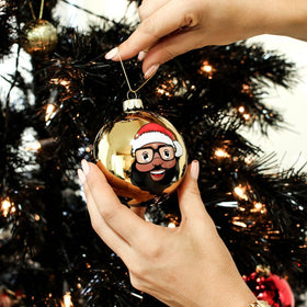 Black Santa Gold Glass Ball Ornament