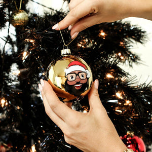 Black Santa Gold Glass Ball Ornament - The Black Santa Company