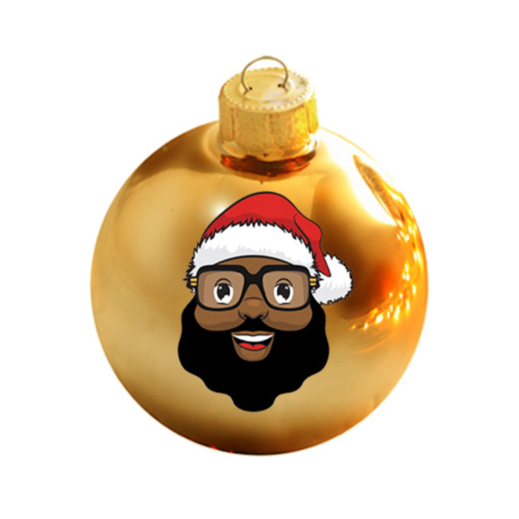 *Limited Edition* Black Santa Gold Glass Ball Ornament
