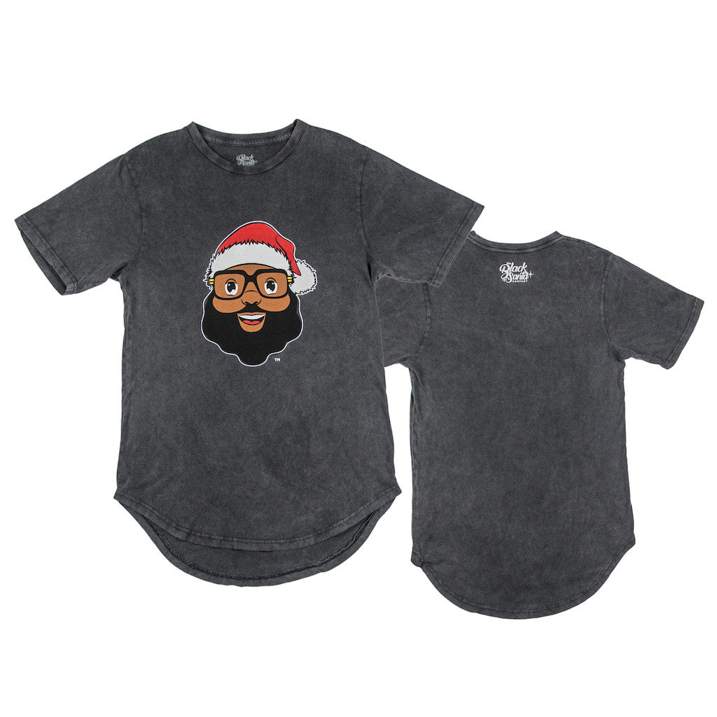 Black Santa Scoop Tee Shirt - Vintage Gray