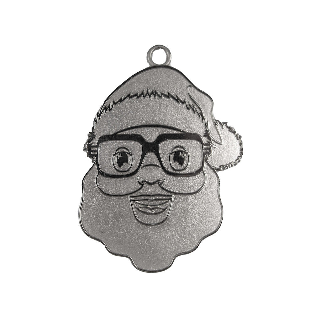 Silver Black Santa Face Metal Ornament