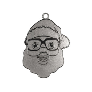 Black Santa Face Metal Ornament - Silver - The Black Santa Company