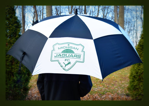 "Michigan Jaguars FC Logo 68"" Windbuster Auto Open Dbl Canopy Umbrella"