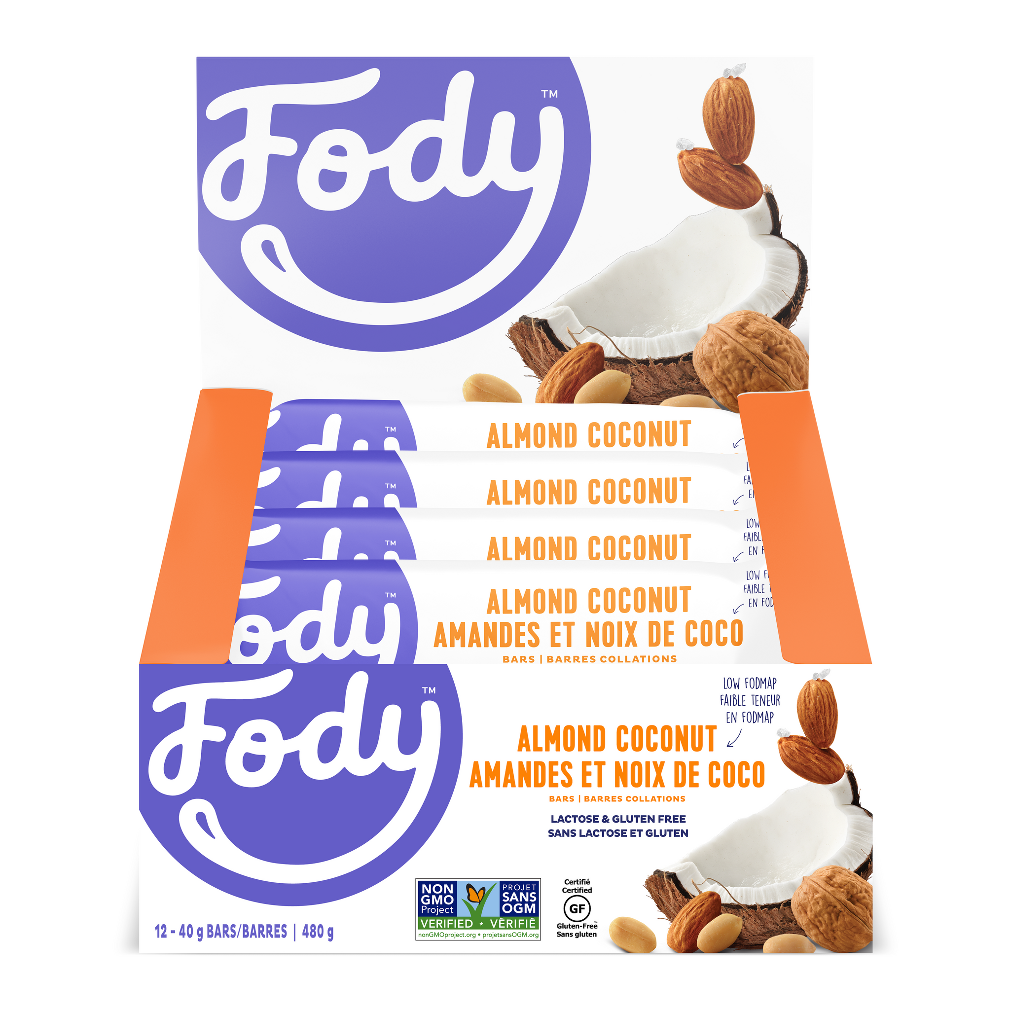 Low FODMAP <br> <b><big>Almond<br>Coconut Bars </big></b><br>(Box of 12) <br><small>Lactose & Gluten Free</small>