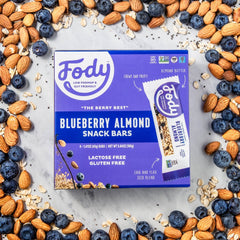 Low FODMAP <br><b><big>Blueberry Almond <br> Snack Bars </b></big><br>Box of 4<br><small>Lactose & Gluten Free</small>