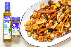 Roasted vegetables with Fody Garlic-Infused Olive Oil and Fody Lemon & Herb Seasoning