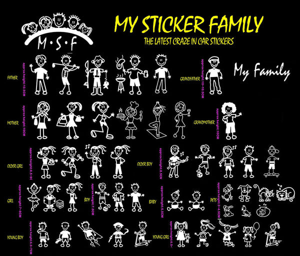 stick figure my family car window decal sticker